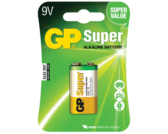 GP SUPER ALKALI 9V-PARISTO 1604A/6LF22