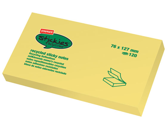 STAPLES RECYCLED STICKY 127X76 KELTAINEN (12 kpl/pkt)